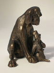 Frith Sculpture - Dog - Amber Sitting with Pup