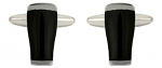 Pint Dark Beer Glass Cufflinks Shiny Rhodium Plated
