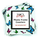 Set of 4 Photo Frame Coasters - Multi Butterfly
