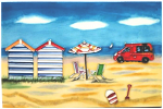 Ceramic Art Tile - Day at the Beach Campervan Beach Huts 8in x 12in
